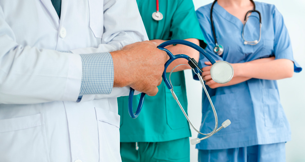 Healthcare people group. Professional doctor working in hospital office or clinic with other doctors, nurse and surgeon Image